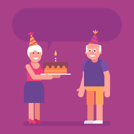 Old woman holding cake and congratulating old man on his birthday. Flat people. Vector Illustration 矢量图像