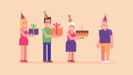 Man woman and old woman congratulates old man happy birthday. Flat people. Vector Illustration