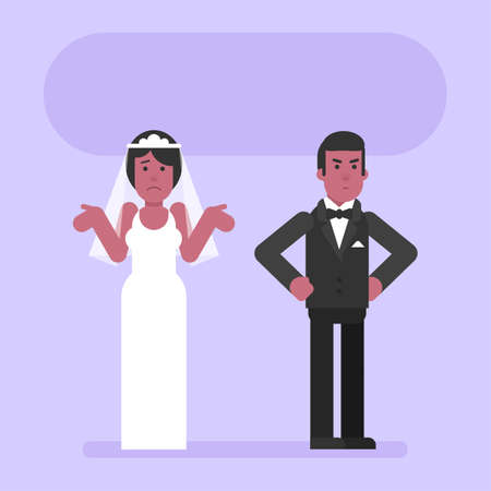 African American groom is angry with bride. Flat people. Vector Illustration