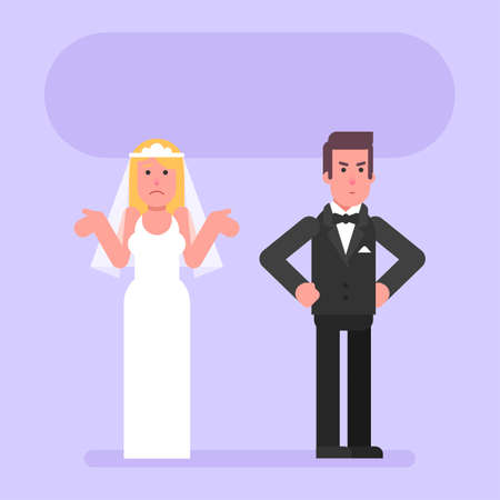 Groom is angry with bride. Flat people. Vector Illustration