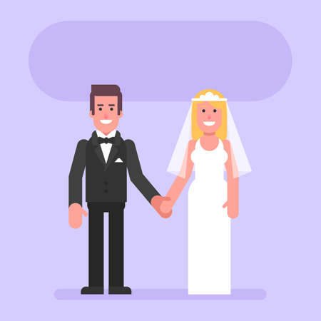 Bride and groom hold hands and smile. Flat people. Vector Illustration 矢量图像