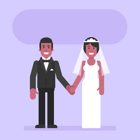 African American bride and groom hold hands and smile. Flat people. Vector Illustration