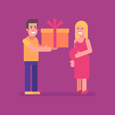Man gives his pregnant wife big gift. Flat people. Vector Illustration