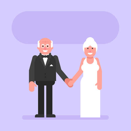 Elderly bride and groom hold hands and smile. Flat people. Vector Illustration