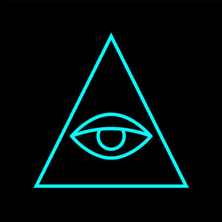All seeing eye blue color. Sign Masons. Magic sign. Vector Illustration  イラスト・ベクター素材