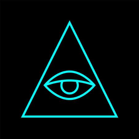 All seeing eye blue color. Sign Masons. Magic sign. Vector Illustration 矢量图像