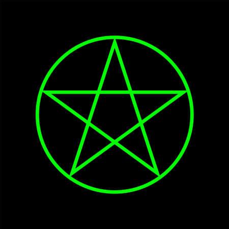 Pentagram five-pointed star green color. Magic sign. Vector Illustration