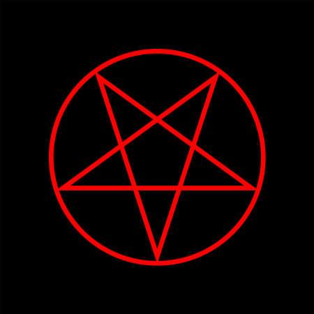 Inverted pentagram red color. Magic sign. Vector Illustration 矢量图像