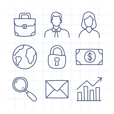 Business icons set part 1. Doodle icons. Briefcase businessman business woman planet earth padlock money magnifying glass letter business graph. Vector illustration 向量圖像