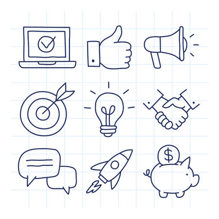 Business icons set part 2. Doodle icons. Laptop like megaphone target light bulb handshake clouds rocket piggy bank. Vector illustration