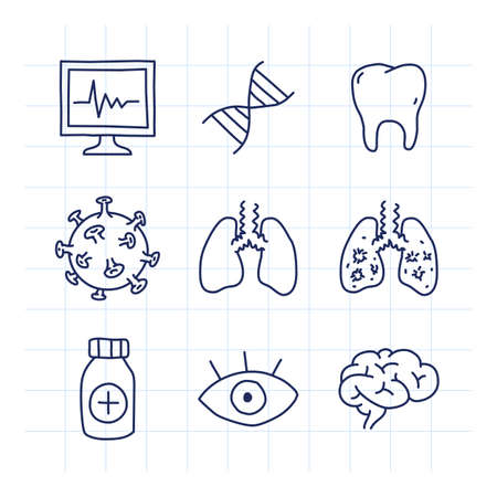 Doodle medical icons set part 2. Doodle icons. Vector illustration. Monitor gene sign virus lungs drug eye brain
