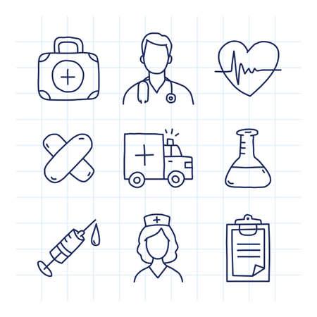 Doodle medical icons set part 1. Doodle icons. Vector illustration. Medical portfolio doctor heart patch ambulance car test tube syringe nurse tablet