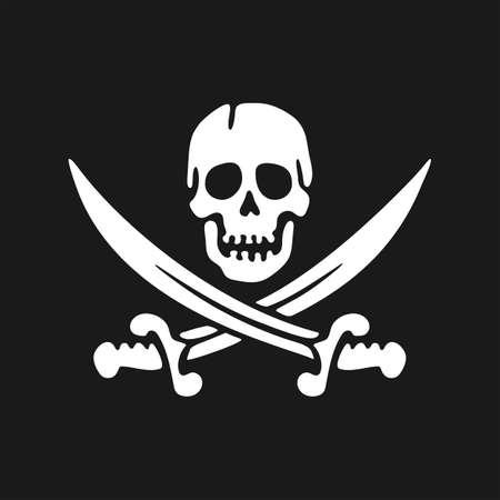 Jolly Roger emblem. Skull and sabers. Design element. Vector Illustration 向量圖像
