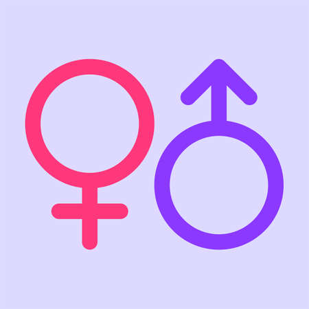 Gender signs female and male. Vector Illustration