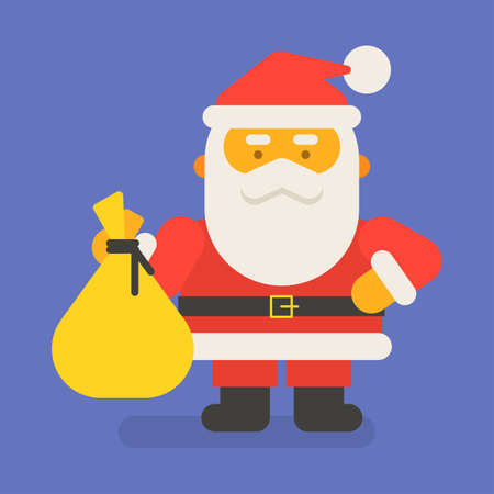 Santa Claus holding bag with gifts. Vector character. Vector Illustration