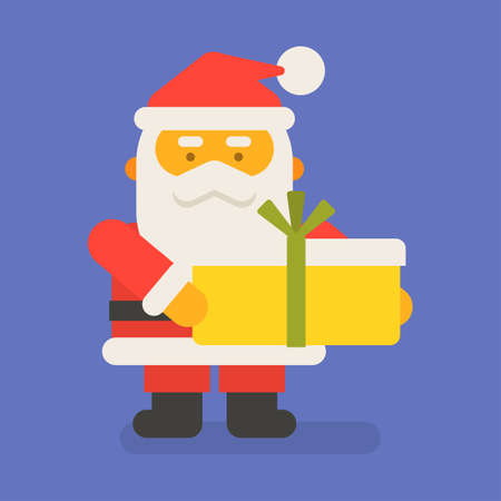 Santa Claus holding big gift. Vector character. Vector Illustration