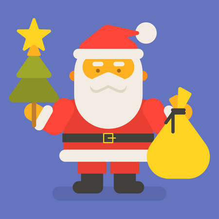 Santa Claus holding bag with gifts and christmas tree. Vector character. Vector Illustration 向量圖像