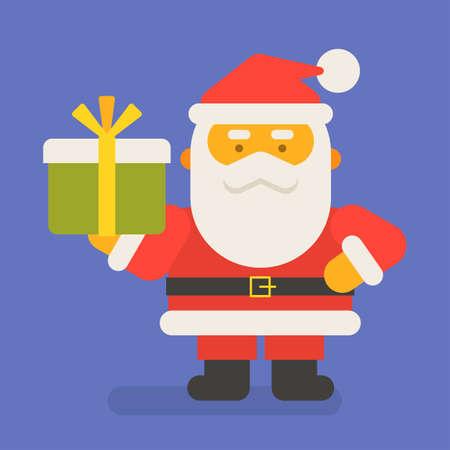 Santa Claus holding gift. Vector character. Vector Illustration