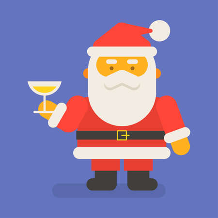 Santa Claus holding glass with champagne. Vector character. Vector Illustration