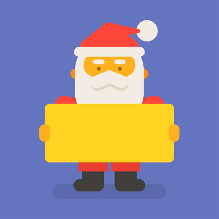 Santa Claus holding blank sign. Vector character. Vector Illustration