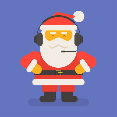 Santa Claus put on headphones and holds his hands at his hips. Vector character. Vector Illustration