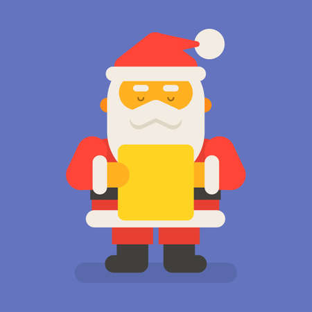 Santa Claus stands and reads letter. Vector character. Vector Illustration 向量圖像