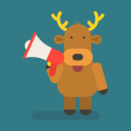 Reindeer holding megaphone. Vector character. Vector Illustration