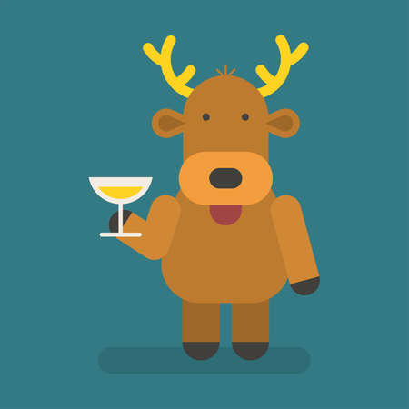 Reindeer holding glass with champagne. Vector character. Vector Illustration 向量圖像
