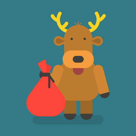 Reindeer holding bag with gifts. Vector character. Vector Illustration
