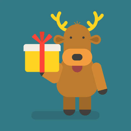 Reindeer holding gift box. Vector character. Vector Illustration