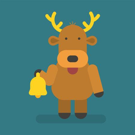 Reindeer holding christmas bell. Vector character. Vector Illustration 向量圖像