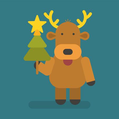 Reindeer holding christmas tree. Vector character. Vector Illustration 向量圖像