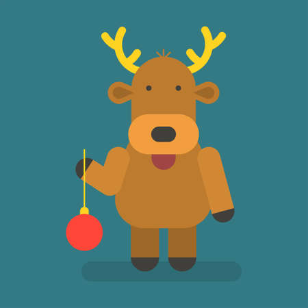 Reindeer holding christmas toy. Vector character. Vector Illustration