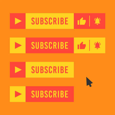 Subscribe button for video channel. Red and yellow color. Vector illustration. Web elements