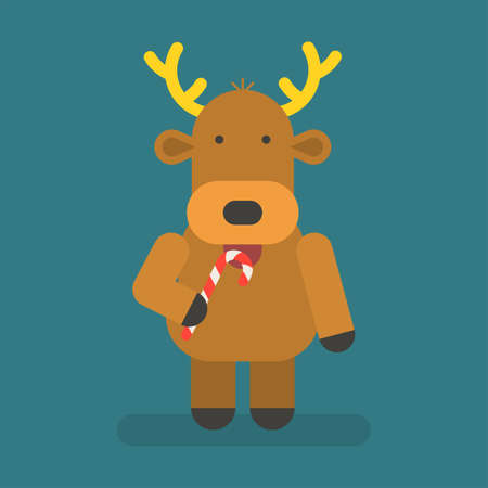 Reindeer holding christmas candy. Vector character. Vector Illustration 向量圖像
