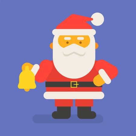 Santa Claus holding christmas bell. Vector character. Vector Illustration