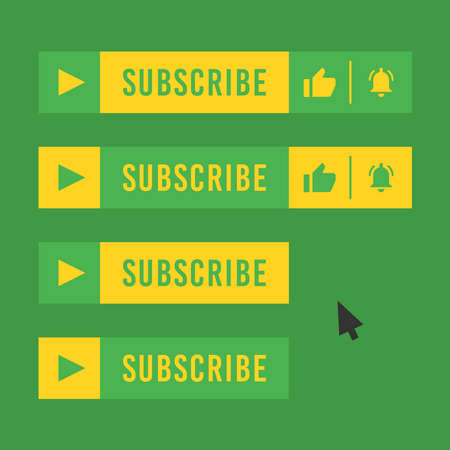 Subscribe button for video channel. Green and yellow color. Vector illustration. Web elements