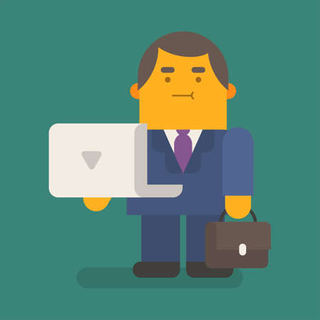 Businessman holding laptop and suitcase. Vector character. Vector illustration