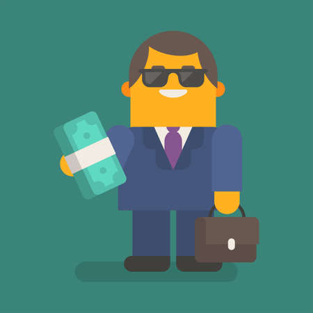 Businessman in sunglasses holding wad of money and suitcase. Vector character. Vector illustration 向量圖像