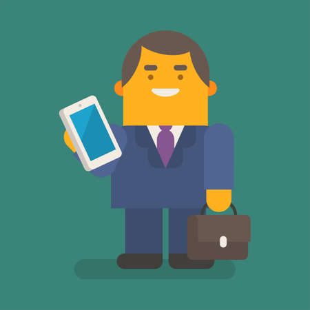 Businessman holding mobile phone suitcase and smiling. Vector character. Vector illustration