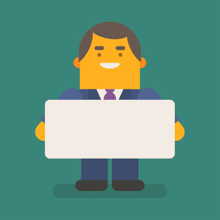 Businessman holding blank sign and smiling. Vector character. Vector illustration 向量圖像