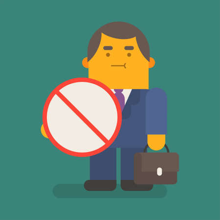 Businessman holds prohibiting sign and suitcase. Vector character. Vector illustration
