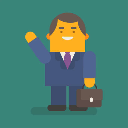 Businessman waving hand holding suitcase and smiling. Vector character. Vector illustration