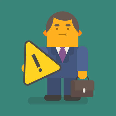 Businessman holding exclamation mark and suitcase. Vector character. Vector illustration 向量圖像
