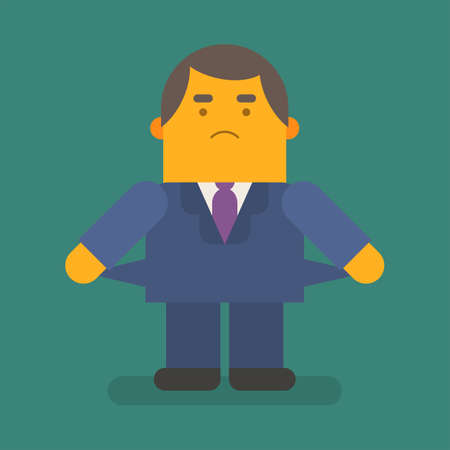 Businessman shows that he ran out of money. Vector character. Vector illustration