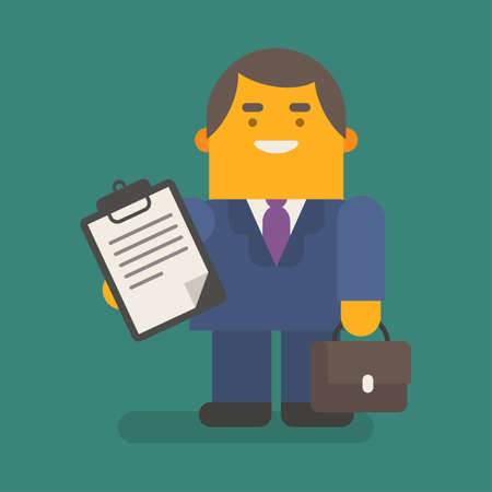 Businessman holding tablet with inscriptions suitcase and smiling. Vector character. Vector illustration