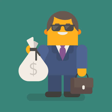 Businessman in sunglasses holds bag of money and suitcase. Vector character. Vector illustration 向量圖像
