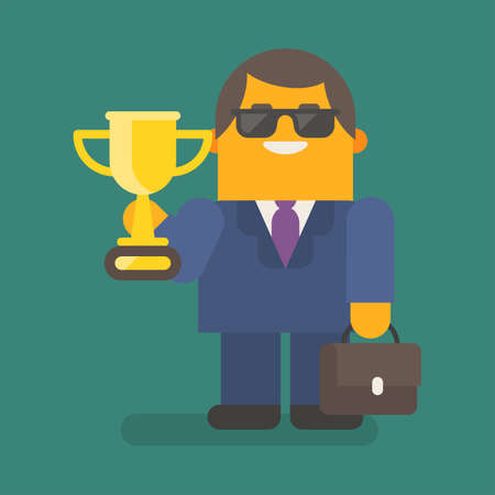 Businessman in sunglasses holding gold cup and suitcase. Vector character. Vector illustration 向量圖像