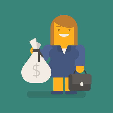 Business woman holding bag of money suitcase and smiling. Vector character. Vector illustration