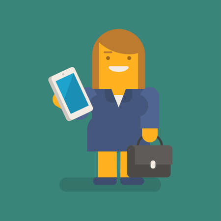 Business woman holding mobile phone suitcase and smiling. Vector character. Vector illustration